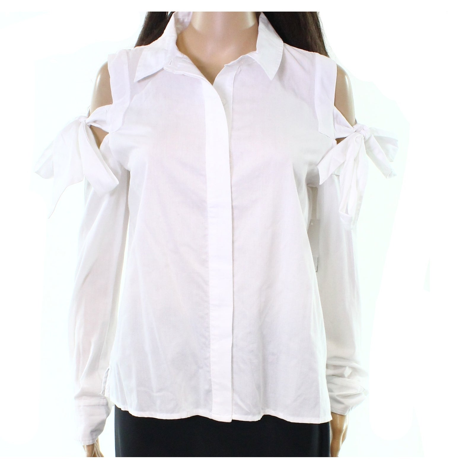 ee83e4bb759 White Womens Size Small S Tie Cold Shoulder Button Down Top - On Sale -  Free Shipping On Orders Over $45 - Overstock - 22314721