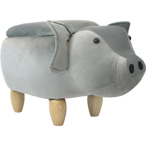 Critter Sitters 15-In. Seat Height Gray Pig Animal Shape Storage Ottoman Furniture, Nursery, Bedroom, Playroom, Living Room