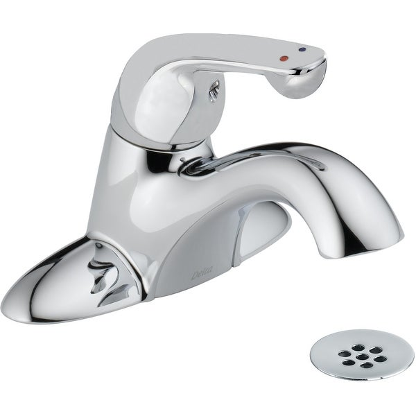 Delta 523LF-HDF Commercial Single Handle Centerset Bathroom Faucet with Metal Lever handle and Drain Assembly - Chrome