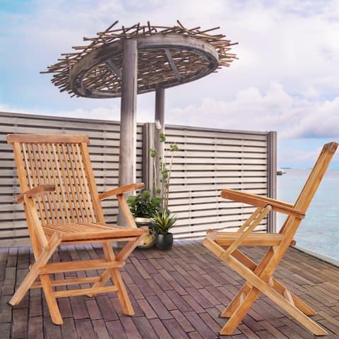 Chic Teak California Teak Wood Folding Arm Chair (set of 2)