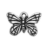 TierraCast Fine Silver Plated Pewter Monarch Butterfly Charm 16mm (1)