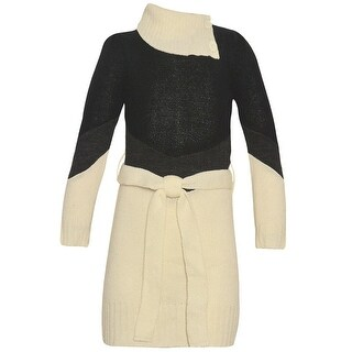 Dollhouse Little Girls Ivory Black Paneled Knit Asymmetric Collar Dress