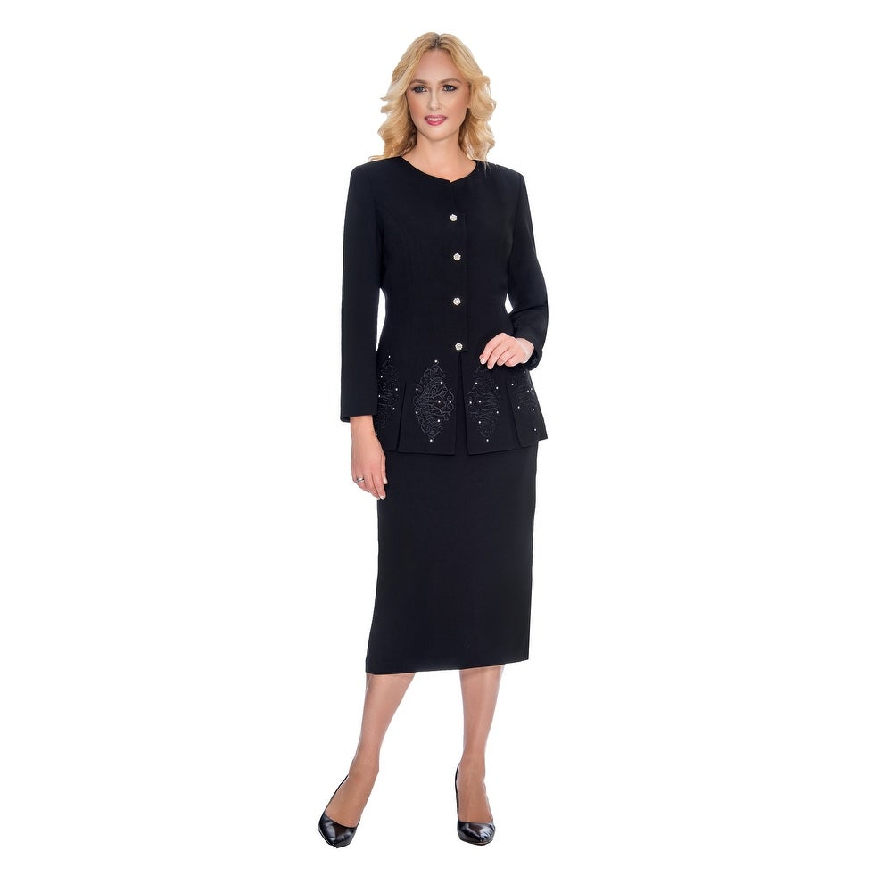 Giovanna Signature Womens 2-piece Embroidered Skirt Suit