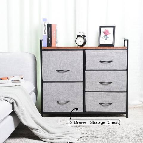 5 Drawer Cube Dresser Fabric Storage Organizer with Handles