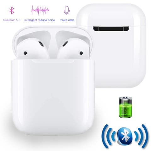 QuickPair Universal Wireless Bluetooth 5.0 Sync EarBud Headphones w/ Microphone - Charging Case Included, White