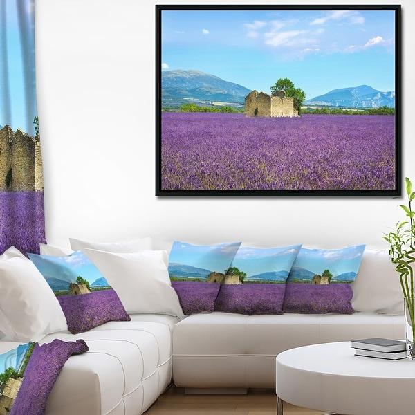 Designart 'Old House and Tree in Lavender Field' Landscape Framed Canvas Art. Opens flyout.