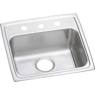 "Elkay LRAD191855  Lustertone 19"" Single Basin Drop In Stainless Steel Kitchen Sink"