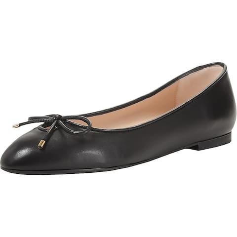 Stuart Weitzman Womens Gabby Ballet Flats Leather Pointed Toe - Black