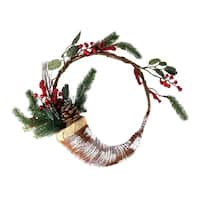"""14"""" Lightly Frosted Cornucopia Artificial Christmas Wreath with Berries and Pine Cones - Unlit - brown"""