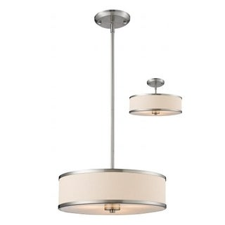 Z-Lite - 3 Light Convertible Pendant Brushed Nickel Steel Fabric