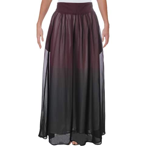 Verona Womens Elena Maxi Skirt Ombre Ruched - Burgundy - XS