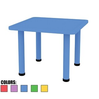 2xhome Adjustable Height Kids Plastic Activity Table Metal Leg Square Toddler Child Preschool Home Desk Dining Kitchen Blue