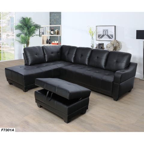 Sectional Sofa Set with Cup Holder,Left Facing,Black(7301A)