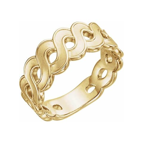 14K Yellow Gold Wave Ring for Women (size :7)