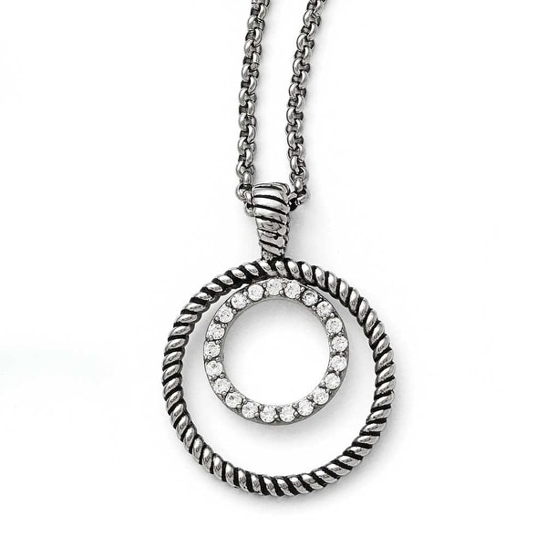 Chisel Stainless Steel Polished and Antiqued CZ Circle Necklace - 18 in