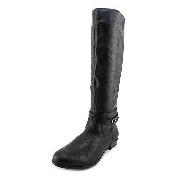 Style & Co Fridaa Wide Calf Women Round Toe Synthetic Black Knee High Boot