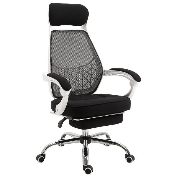 Shop Vinsetto 360 Swivel High Back Office Chair Adjustable Height Recliner With Retractable Footrest Home Office Overstock 31691164