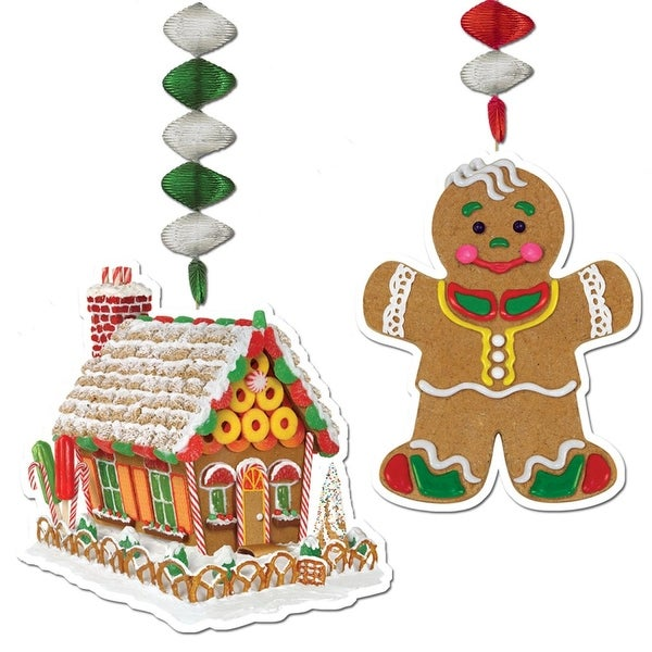 "Pack of 24 Gingerbread House and Man Christmas Dangler Hanging Party Decorations 30"" - RED"