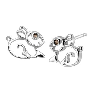 Girl's Bunny Rabbit Stud Earrings with Diamonds in Sterling Silver