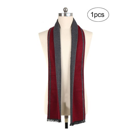 Men Plaids Warm Soft Wrap Shawl Long Scarves Dark Gray+Burgundy - Dark Gray+Burgundy