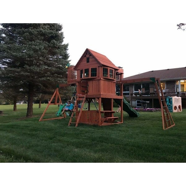 Backyard Discovery Skyfort Ii Brown All Cedar Swing Set Play