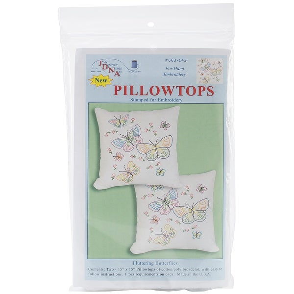 "Stamped White Pillowtops 15""X15"" 2/Pkg-Fluttering Butterflies"