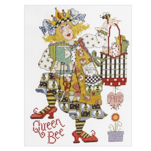 Bucilla Alma Lynne Counted Cross Stitch Queen Bee Kit - YELLOW