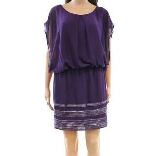 SLNY NEW Purple Foil-Trim Women's Size 16 Chiffon Blouson Dress