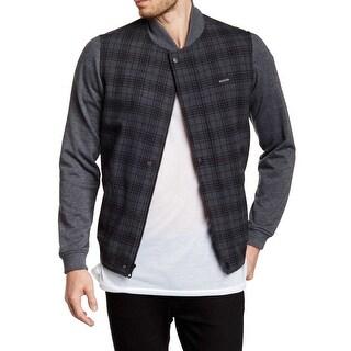 EZEKIEL NEW Gray Mens Size 2XL Full Zip Plaid Knit Bomber Jacket