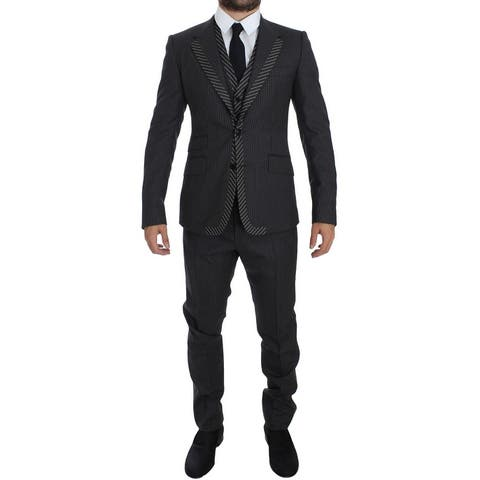 Dolce & Gabbana Gray Striped 3 Piece Slim Suit Men's Tuxedo