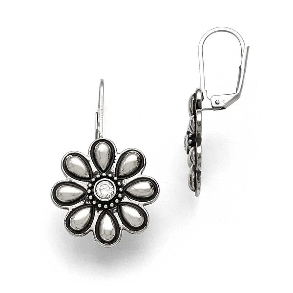 Chisel Stainless Steel Polished/Antiqued CZ Flower Earrings