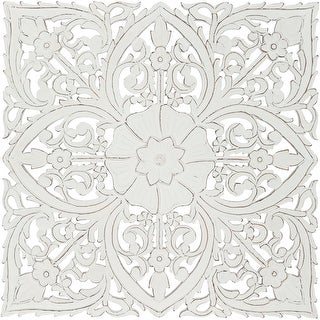 Link to Barclay Hand Carved White Floral 35-inch Square Wall Panel Similar Items in Wood Wall Art