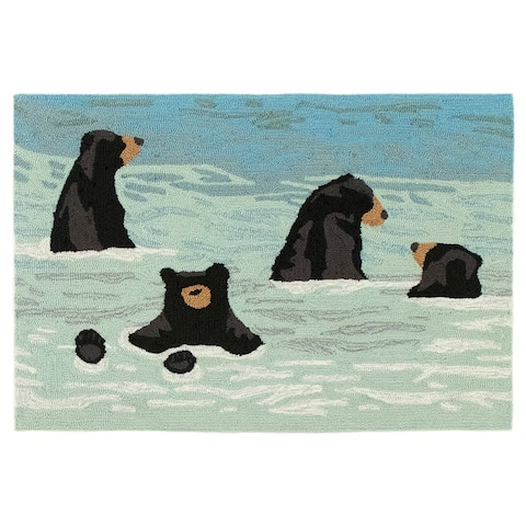 Liora Manne Frontporch Bathing Bears Indoor/Outdoor Rug Water