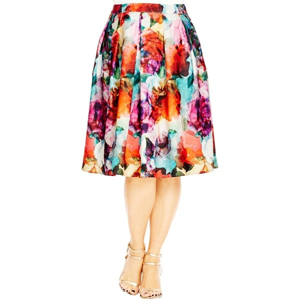 d82105336d Shop City Chic Womens Plus Flare Skirt Floral Print Knee-Length - L - Free  Shipping On Orders Over $45 - Overstock - 20092036
