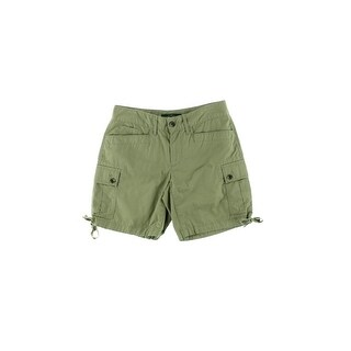 LRL Lauren Jeans Co. Womens Cargo Shorts Cotton Chino Green 4