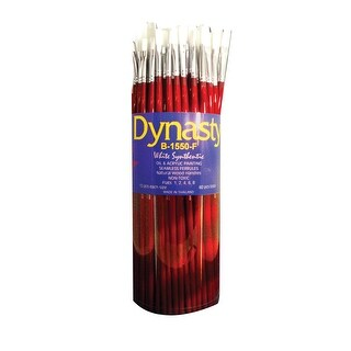 Dynasty B-1550 Flat White Taklon Long Lacquered Handle Paint Brush Set, Assorted Size, Red, Set of 60