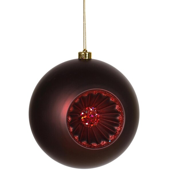 "Matte Red Hot Retro Reflector Shatterproof Christmas Ball Ornament 8"" (200mm)"