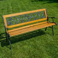 Belleze Patio Park Garden Bench Porch Path Chair Outdoor Deck Cast Iron Hardwood