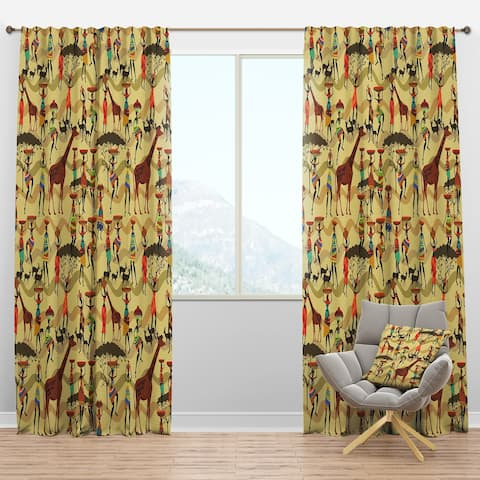Designart 'Texture with African Women' Tropical Blackout Curtain Panel