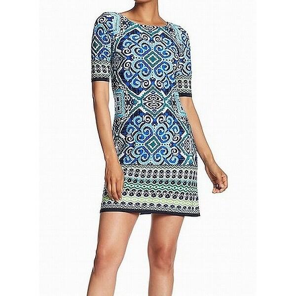 Eliza J Navy Green Women's Mix-Print Sheath Dress