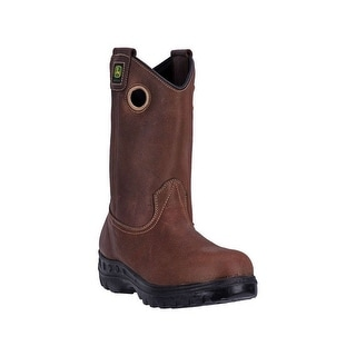 "John Deere Western Boots Mens 11"" Waterproof Pull On Brown JD4502"