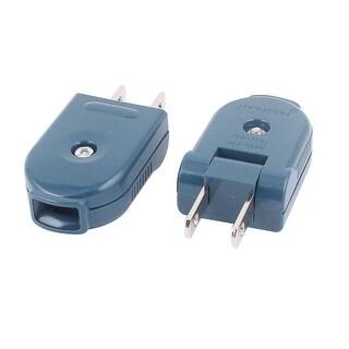 2 Pcs AC 250V 10A Rewirable Rotating US Plug Power Cord Connector Blue