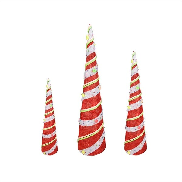 Set of 3 Red Lighted Sisal Candy Covered Cone Tree Christmas Outdoor Decorations