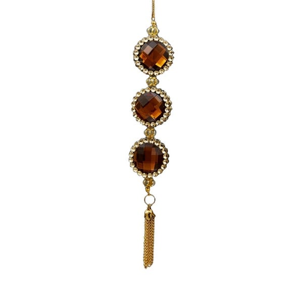 "7"" Deco and Diamonds Gold and Amber Round Three-Jewel Christmas Drop Ornament - brown"