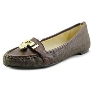 Michael Michael Kors Hamilton Moc Women Moc Toe Leather Brown Loafer