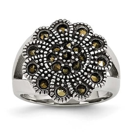 Chisel Stainless Steel Textured Flower Marcasite Ring (17 mm)