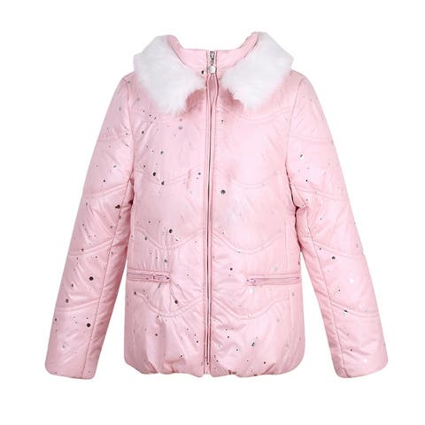Richie House Girls' Winter Padding Jacket with Artifical Fur Collar