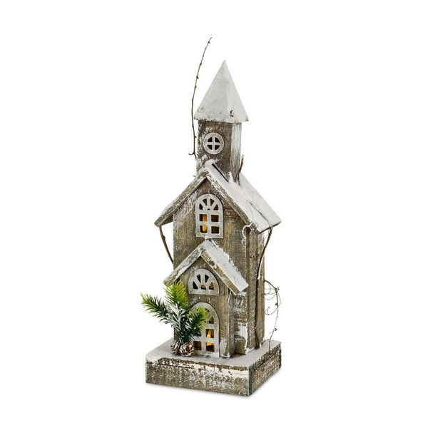 Pack of 4 Snow white and brown frosted church tabletop décor 18""
