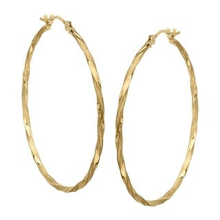 Just Gold Twisted Hoop Earrings in 14K Gold - YELLOW