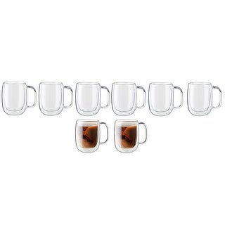 ZWILLING Sorrento Plus 8-pc Double-Wall Glass Coffee Mug Set